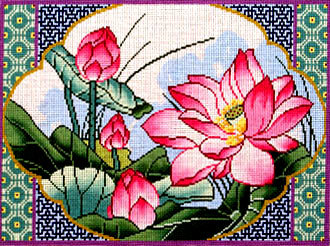 Framed Lotus   (Hand Painted Needlepoint Canvas by Lee)