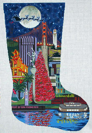 San Francisco Stocking (Handpainted by DJ Designs)