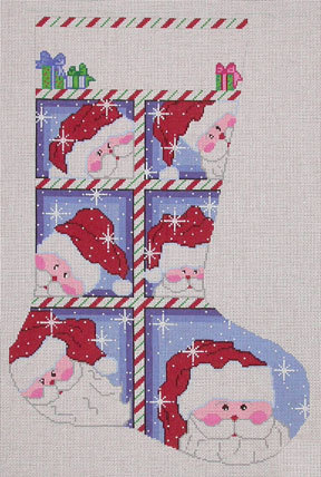 Large Window Santa Stocking (Handpainted by Cheryl Schaeffer Designs)