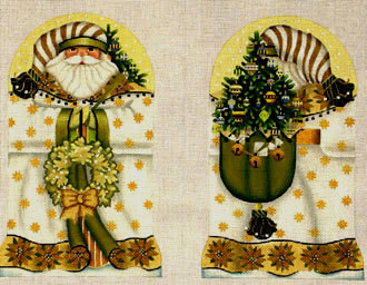 Golden Santa (2 sided standup)   (handpainted by Melissa Shirley)