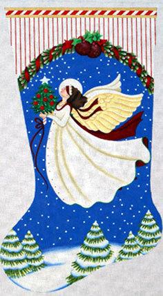 White Angel Stocking   (Handpainted by Melissa Shirley)