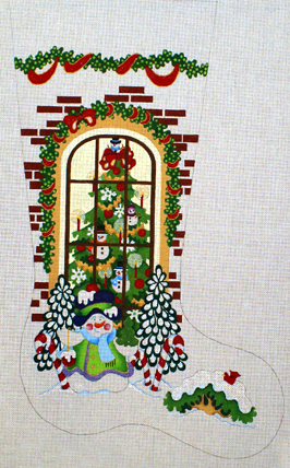 Snowman Outside of Window Stocking   (handpainted from Strictly Chrismas)