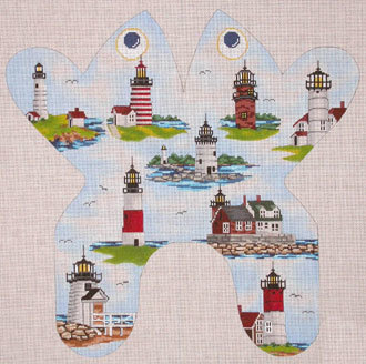 Northeast Lighthouse Frog (handpainted by CBK Needlepoint Collection)