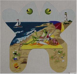 Beach Buddy Frog       (handpainted by CBK needlepoint designs)