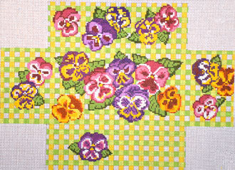 Pansy Brick Cover (Handpainted by Needle Crossings)