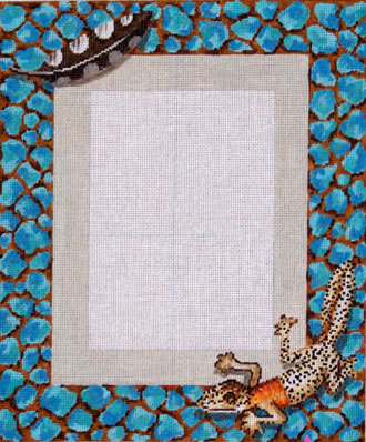 Lizard Picture Frame     (hand painted needlepoint canvas from Colors of Praise)