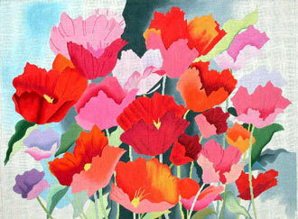 Large Watercolor Poppies   (handpainted by Alice Peterson Designs)