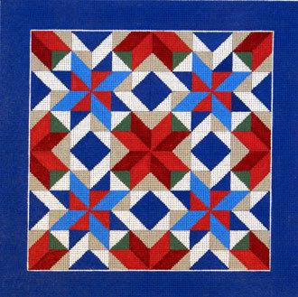 Pinwheel Star Quilt      (handpainted by Susan Roberts Designs)