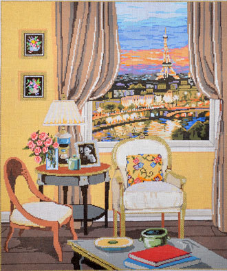 Parisian View  (hand painted by Sandra Gilmore)
