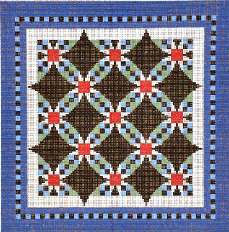 Wedding Ring Star Quilt  (handpainted by Susan Roberts)
