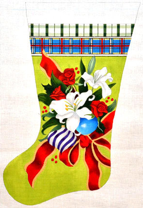 White Lily Stocking (Handpainted by The Point Of It All Designs)