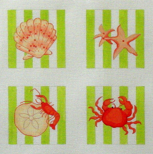 Shell Coasters  (Handpainted by Kate Dickerson Needlepoint Collection)