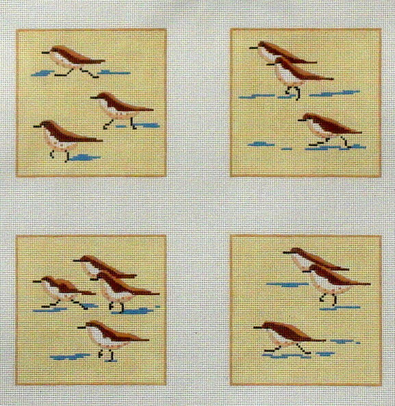 Sandpiper Coasters   (Handpainted by Kate Dickerson Needlepoint Collection)