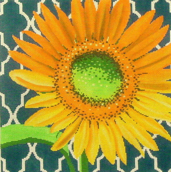 Sunflower on Teal  (handpainted by The Meredith Collection)