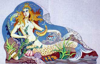 Galina's Mermaid Rug   (Handpainted by Barbara Russell)