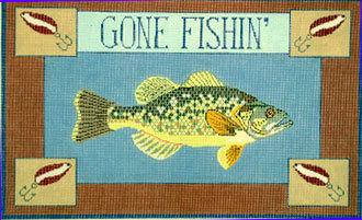 Gone Fishin, Bass  (Hand Painted Needlepoint canvas by Danji)