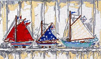 Boats on Shelf     (Handpainted by Cooper Oaks Design)