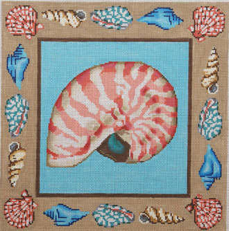 Nautilus Shell Pillow (Handpainted by Gayla Elliott Designs)