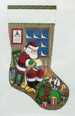 Sitting Santa Checking His List, Boy Stocking    (handpainted by Susan Roberts)