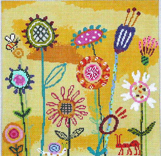 Amy's Yellow Garden (Handpainted by Birds of a Feather)