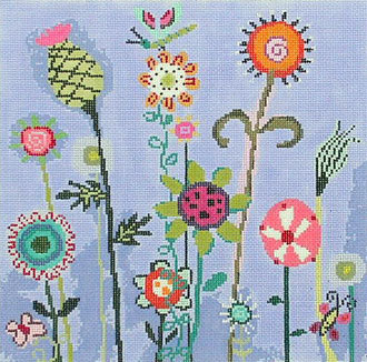 Amy's Blue Garden (Handpainted by Birds of a Feather)