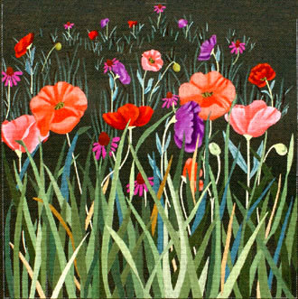 Red Poppy Meadow on Green  (Handpainted by Dede's Needleworks)