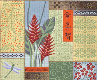 Ginger Flower/Patchwork   (handpainted by JP Needlepoint)