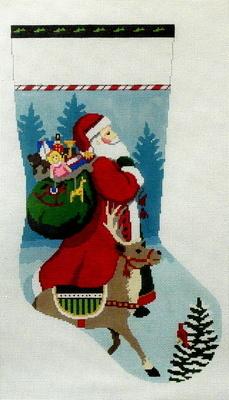 Tasseled Santa and Reindeer   (handpainted by Susan Roberts)