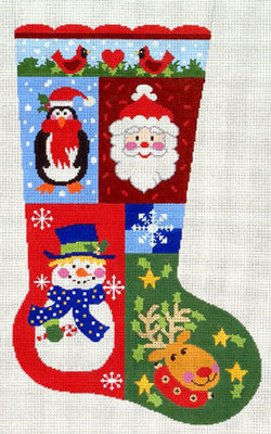 Christmas Sampler Stocking (Handpainted needlepoint canvas by Lee's Needle Arts)