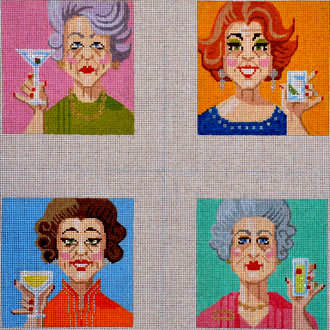 Coasters,  Ladies Who Lunch, Set of 4 (Handpainted by Labors of Love)