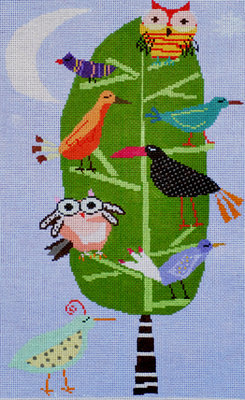 Night Birds  (Handpainted Needlepoint by Birds of a Feather)