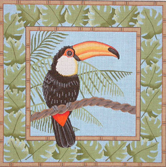 Red McCaw in Palm Leaves      (JP Needlepoint Designs)