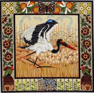 Saddle-billed Stork   (handpainted by Melissa Shirley)