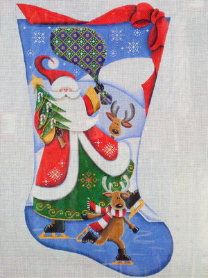 Skating with Santa      (Handpainted by Rebecca Wood Designs)