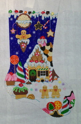 Holiday Sweets Stocking    (Handpainted by Shelly Tribbey Designs)