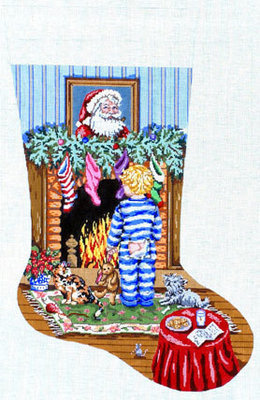 Cookies for Santa (Boy Stocking)  (handpainted by Gayla Elliott)