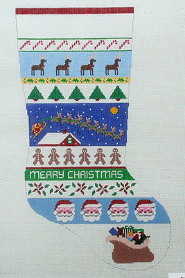 Sleigh Over Rooftop Stocking   (Handpainted by Susan Roberts)
