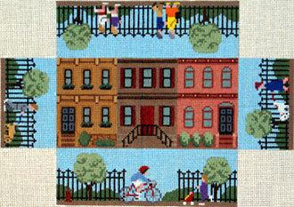 Brownstone Walk Brick Cover (Handpainted canvas by Susan Roberts)