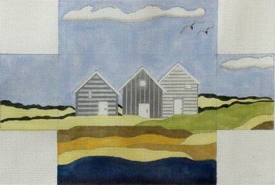 Grey Beach Houses Brick Cover   (Handpainted by BB Needlepoint)