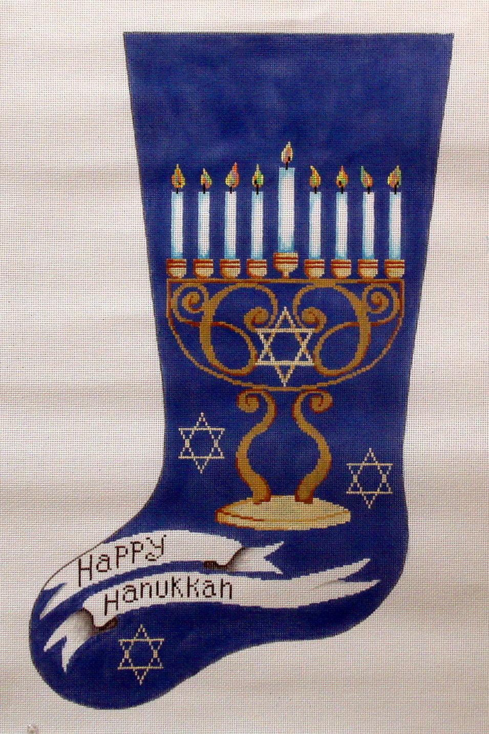 Happy Hanukkah Stocking       (hand painted by Patti Mann)
