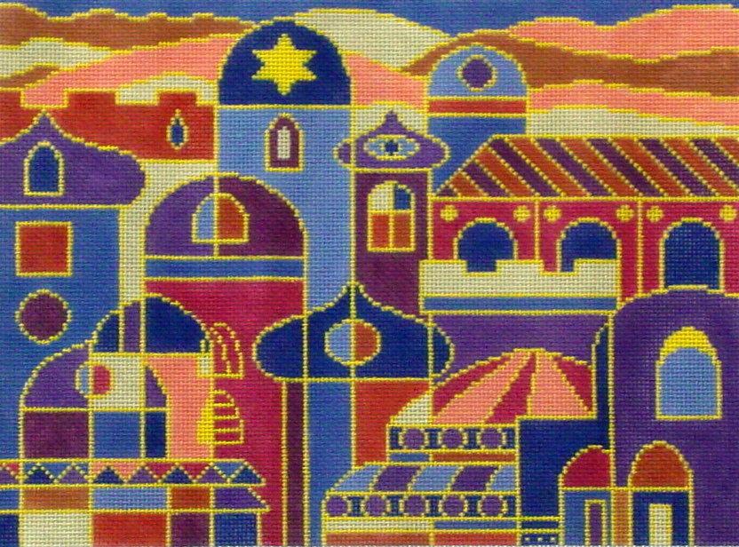 Dusk City Tallis   (hand painted by Tonya, from Fleur de Paris)