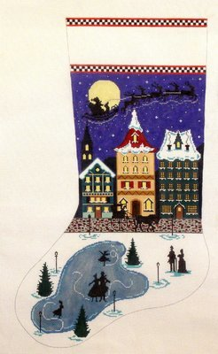 Santa's Midnight Ride Stocking  (Hand Painted from The Merideth Collections)