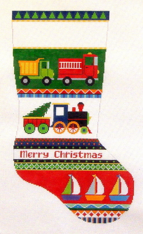 Trucks, Trains & Boats Stocking  (Hand Painted Canvas by Susan Roberts)