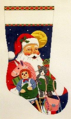 Santa with Kitten, Purse, Unicorn   (Handpainted by Susan Roberts)