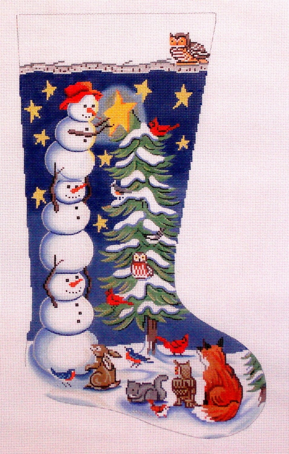 Tree Trimming Snowman Stocking   (Handpainted by Alice Peterson)