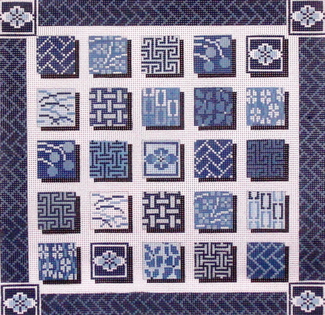 Indigo Squares   (handpainted from Mindy's Needlepoint Factory)