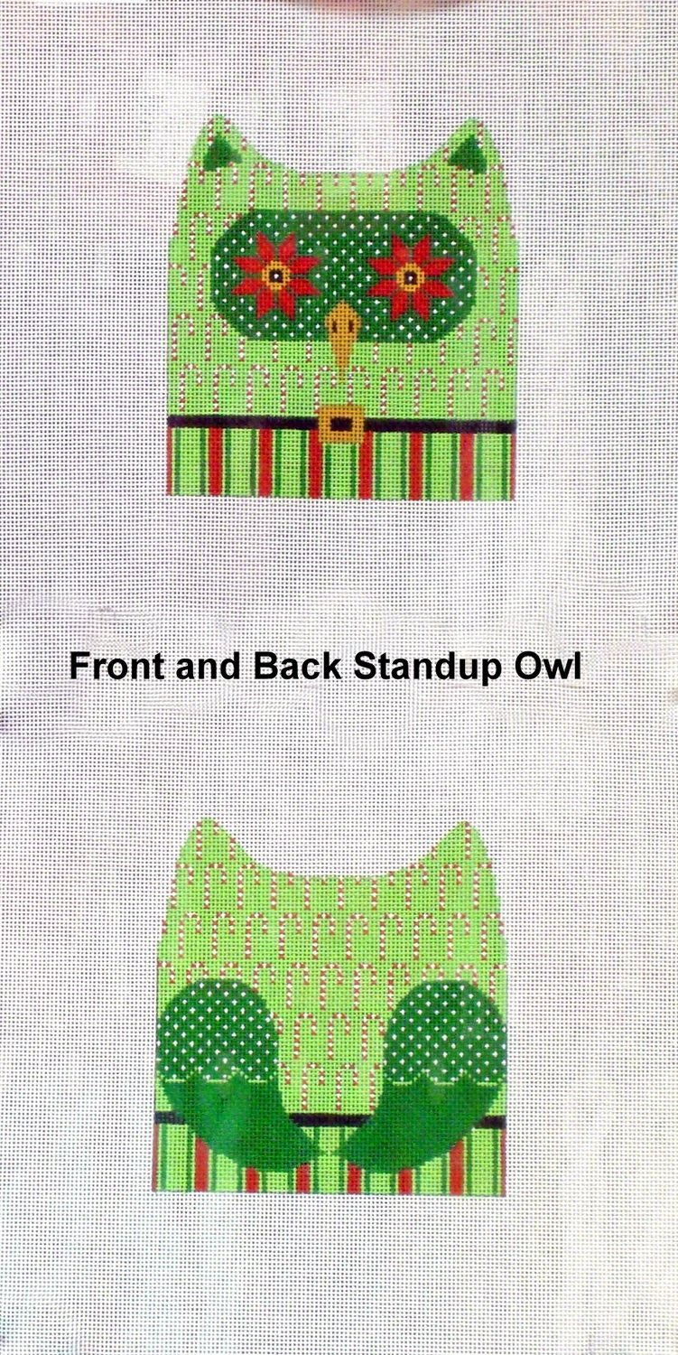 Christmas Hooter w/ Candy Canes, Front & Back    (Handpainted needlepoint canvas from JP Needlepoint)