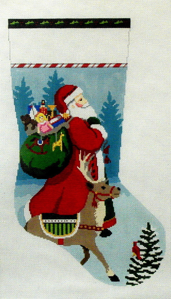 Tasseled Santa and Reindeer   (handpainted by Susan Roberts)