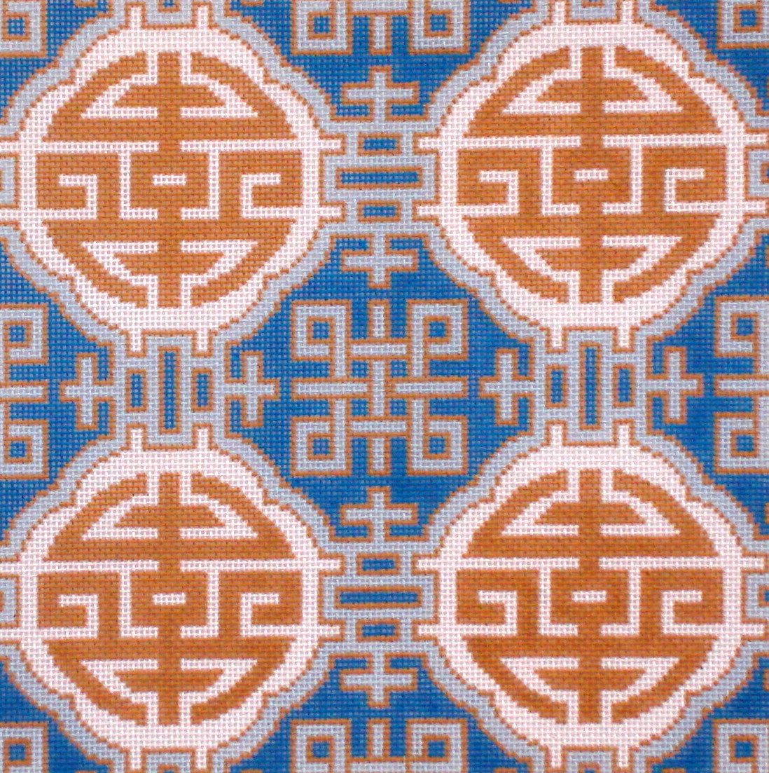 Medallions on Blue     (handpainted from Colonial Needle)