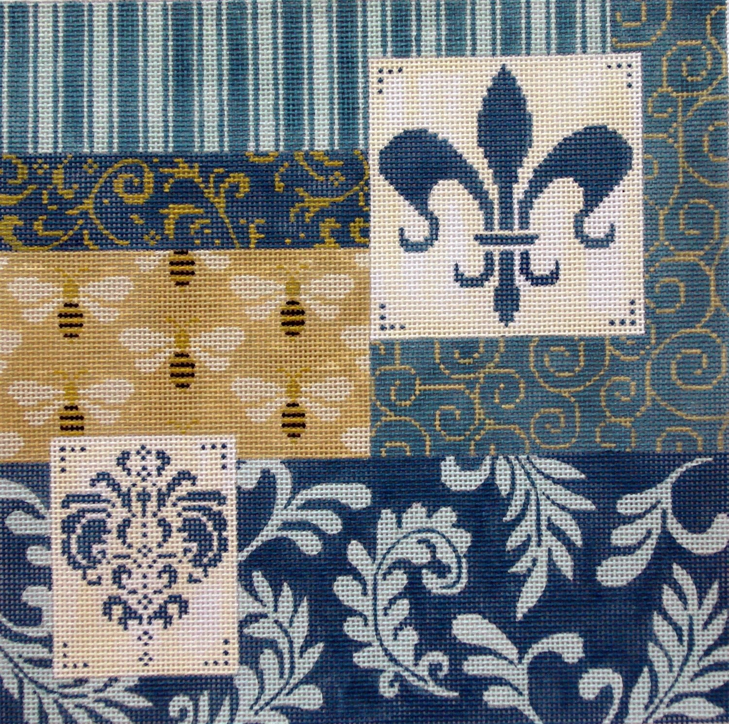 Blue Patchwork w/Fleur & Bees     (Handpainted by JP Needlepoint)